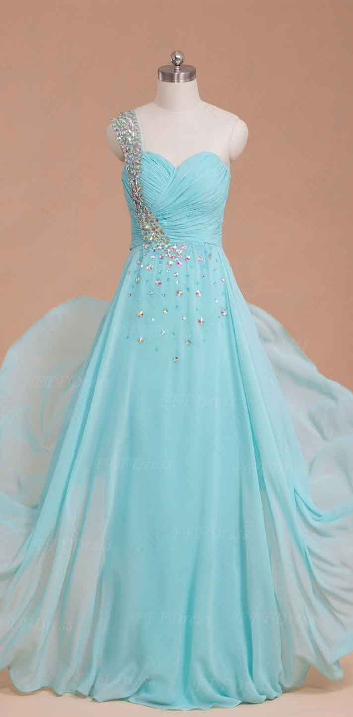 Light blue crystals long prom dresses | Long prom dresses, Prom and ...