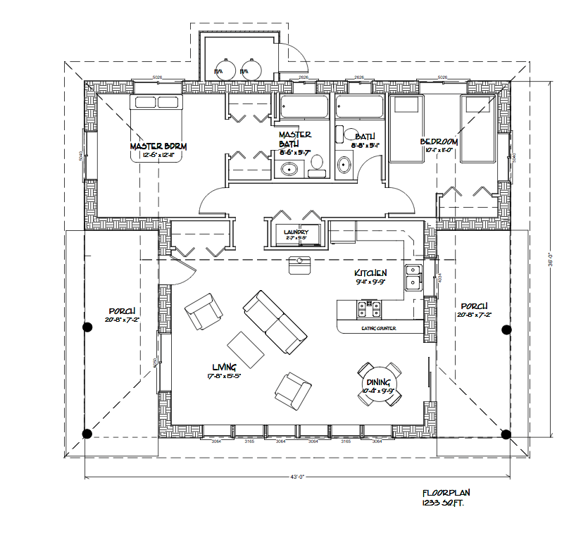 1233 sq ft straw bale houseplan with 2 bedrooms 2 bath for Straw bale garage plans