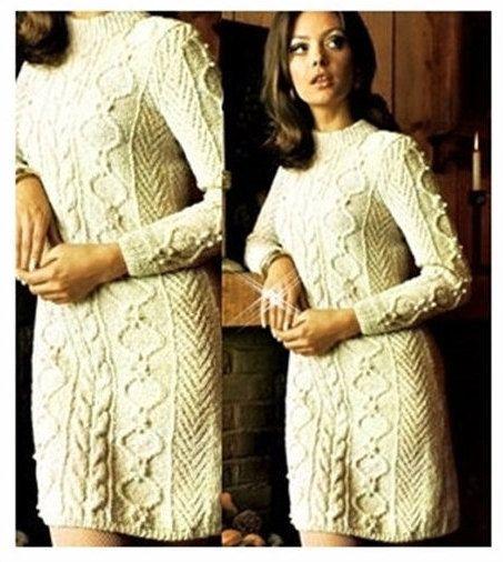 KNITTING PATTERN Aran Sweater Dress Cable by