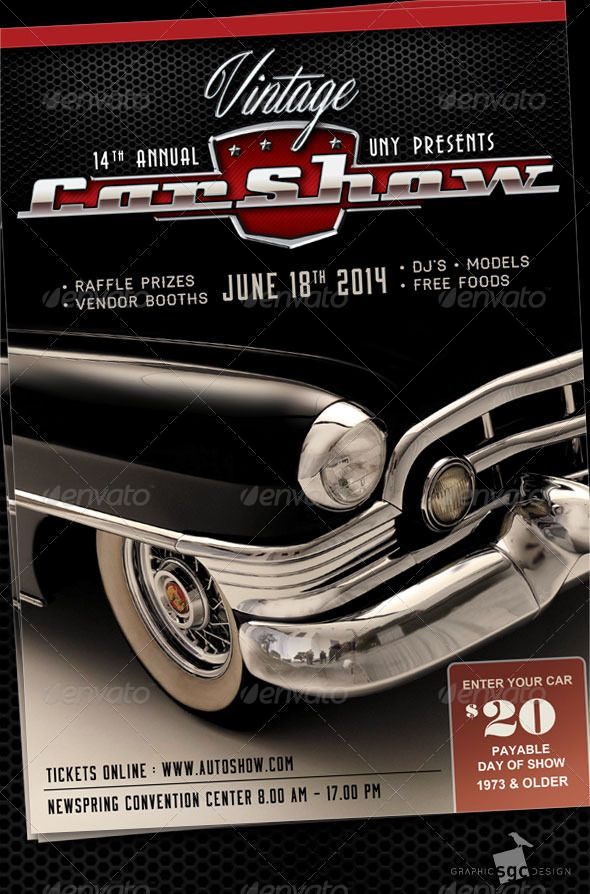 Classic Car Show  Event Flyers And Cars