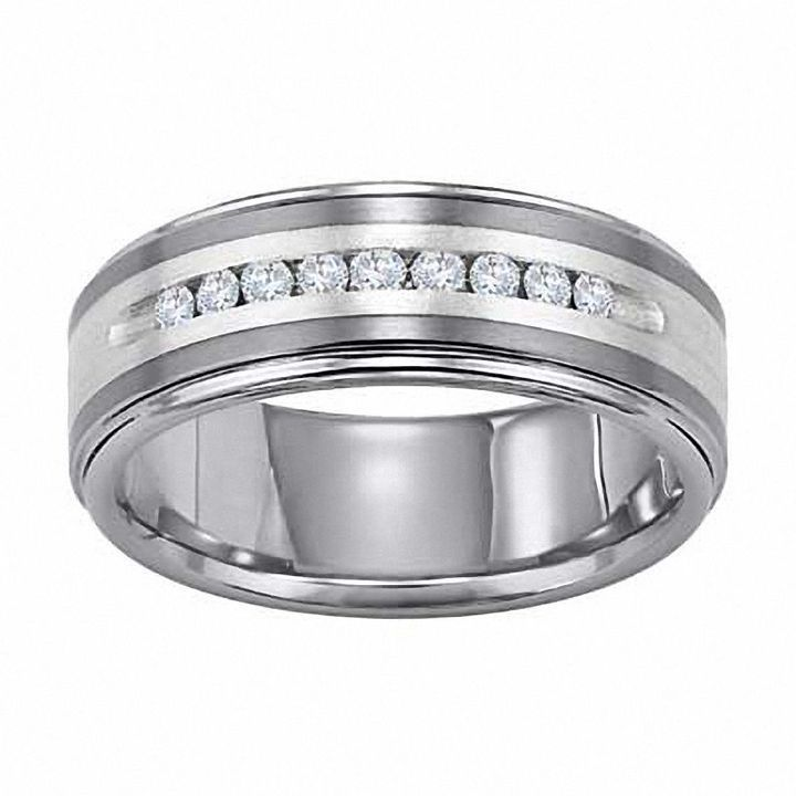 Zales Mens 8.0mm Double Row Groove Wedding Band in Sterling Silver 26XuINJK1