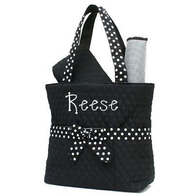Black/White Monogrammed Diaper Bag, 3 Pieces