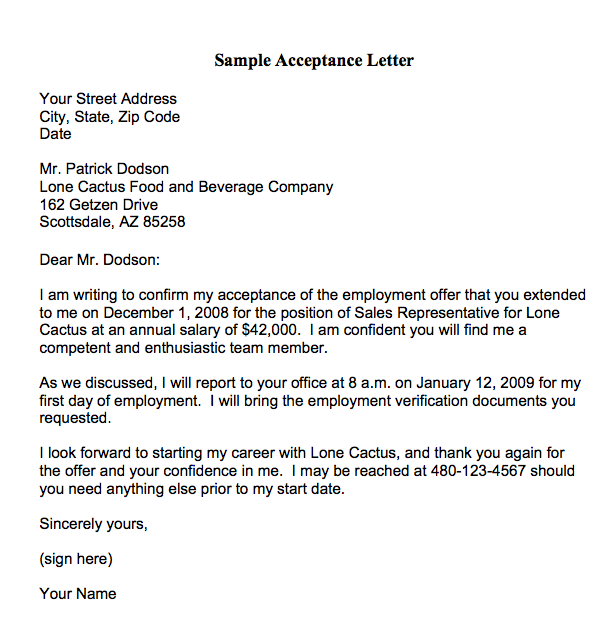 Job Offer Acceptance Letter write a formal job acceptance letter – Offer Acceptance Letter