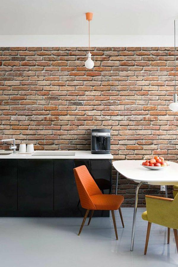 Wanddeko Selber Machen Ziegelwand Küche