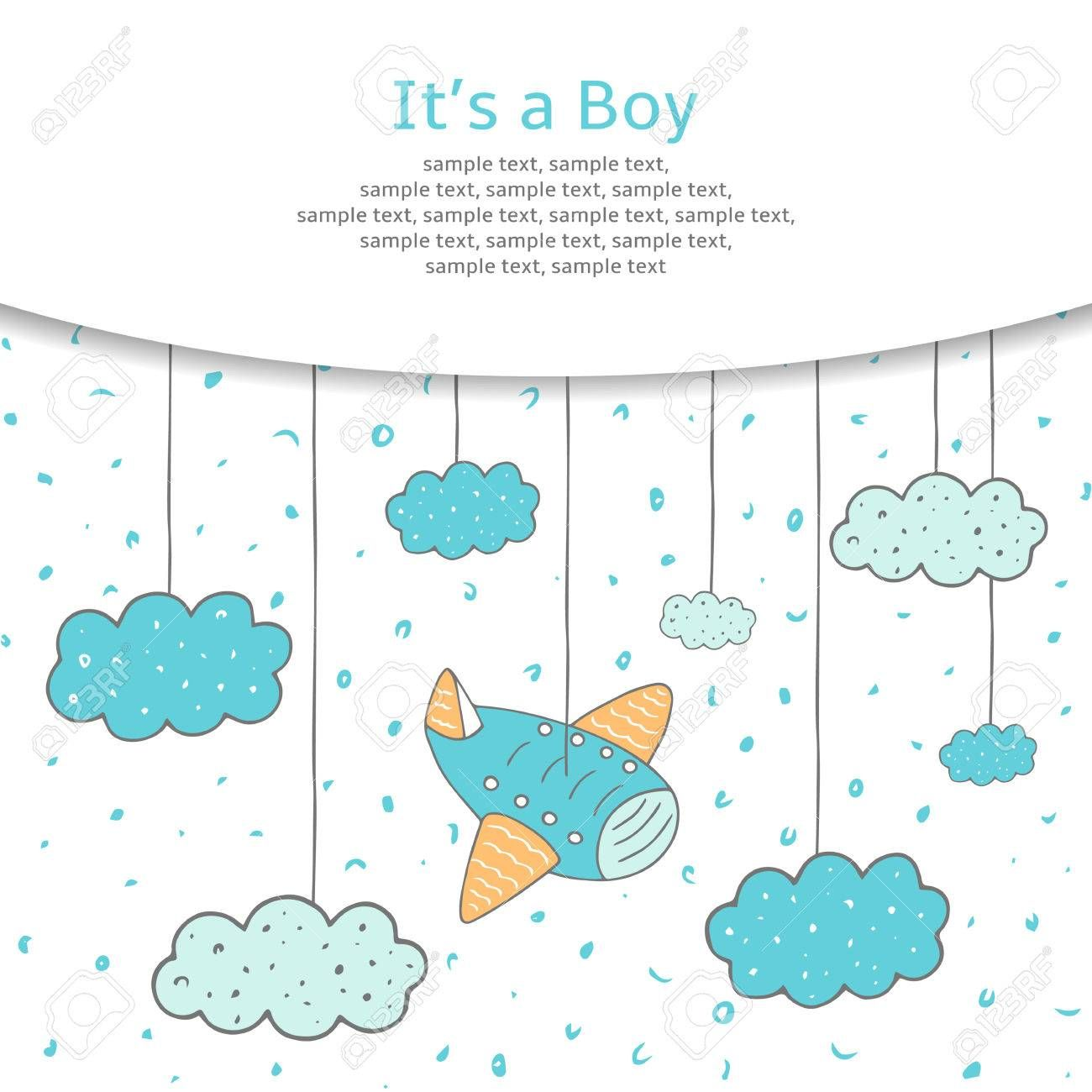 Cute hand drawn doodle baby shower card, cover, background with plane and clouds in the sky. It is a boy postcard. , #Affiliate, #baby, #shower, #card, #doodle, #Cute