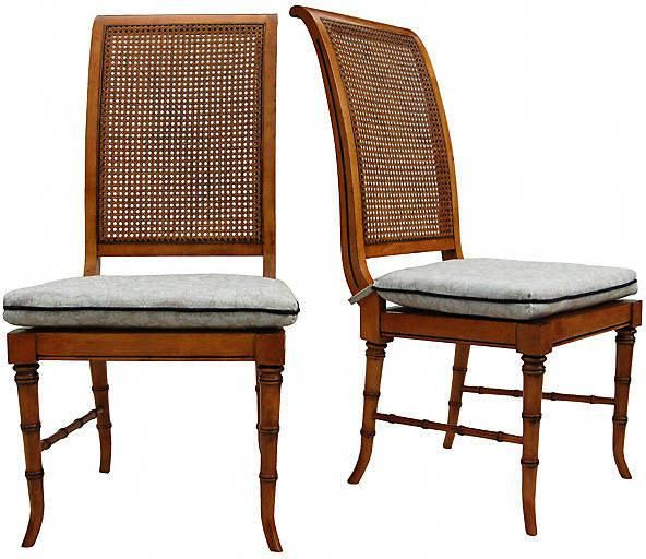 4bed2fe2ddfd Faux-Bamboo   Cane Chairs - Set of 2 - Cannery Row Home  bamboodiningchairs
