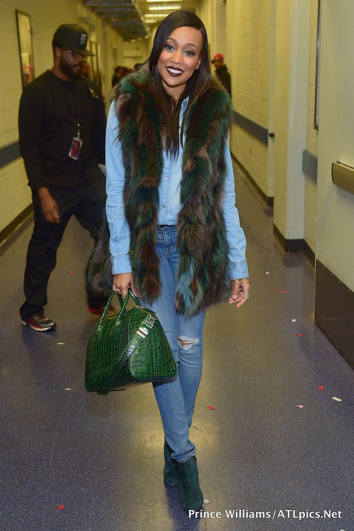 77777 monica brown s chris brown tyga concert givenchy antigona green croc  bag 98f5874bd3f99