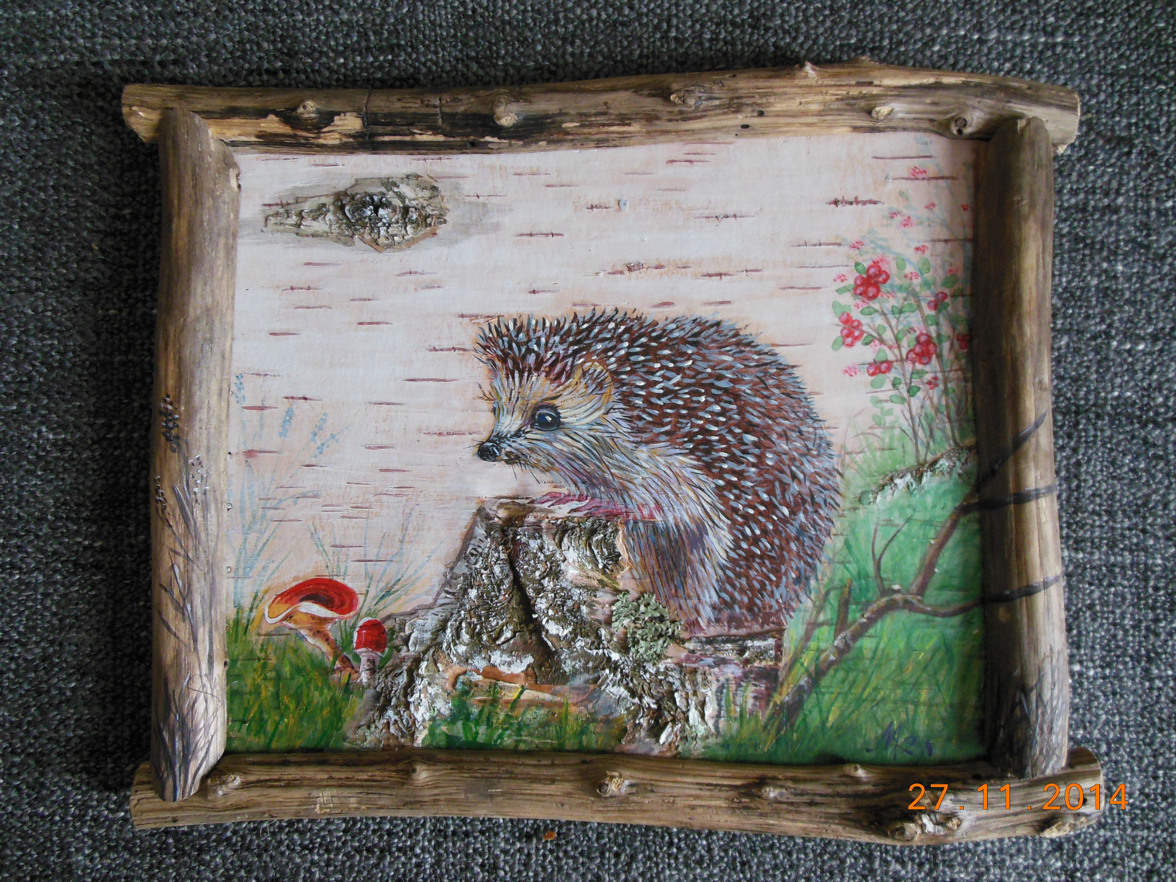 картина на бересте Ёжик и грибы | Картины, Берёста, Ежики