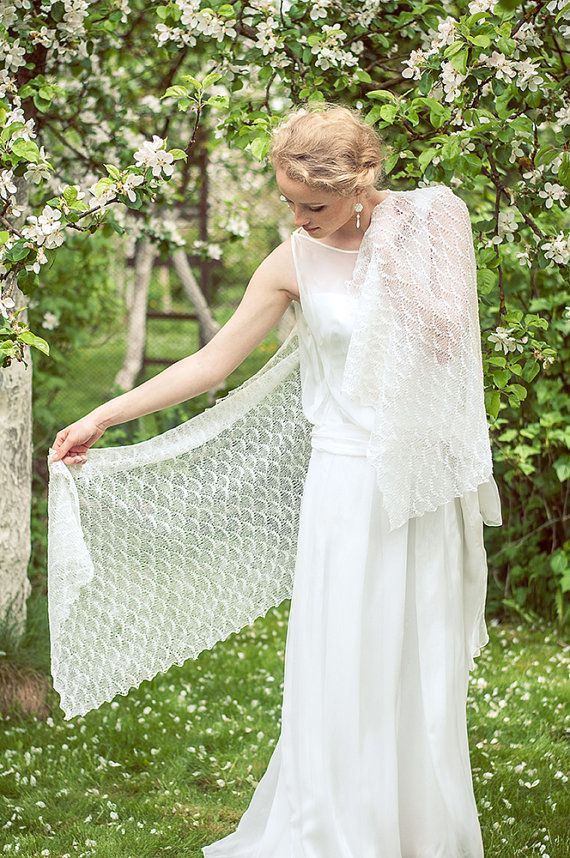 White Shawl Wedding Stole Bridal Linen Scarf By BVLifeStyle 47