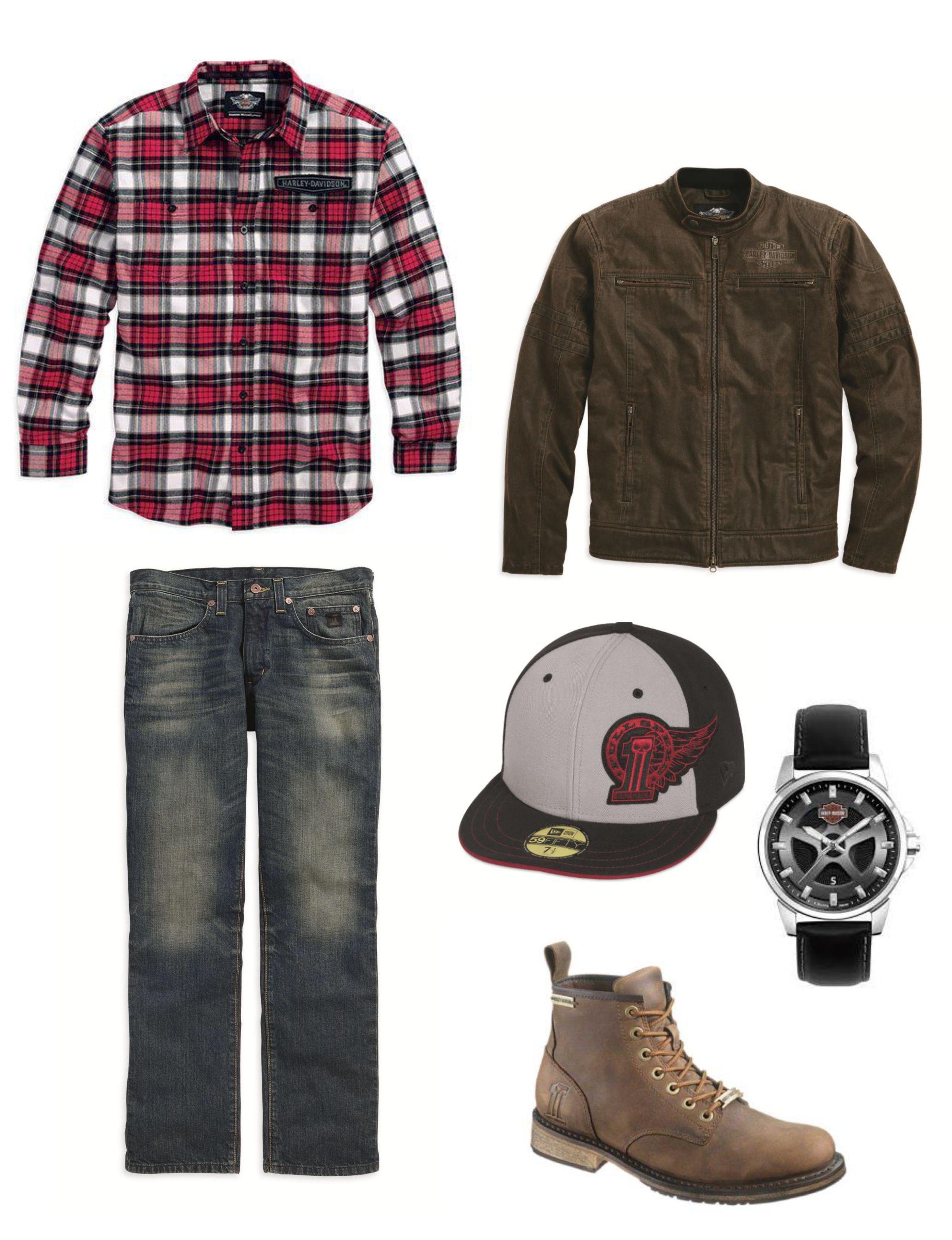 harley-davidson mens outfit: slimfit jeans, flannel, hornback moto