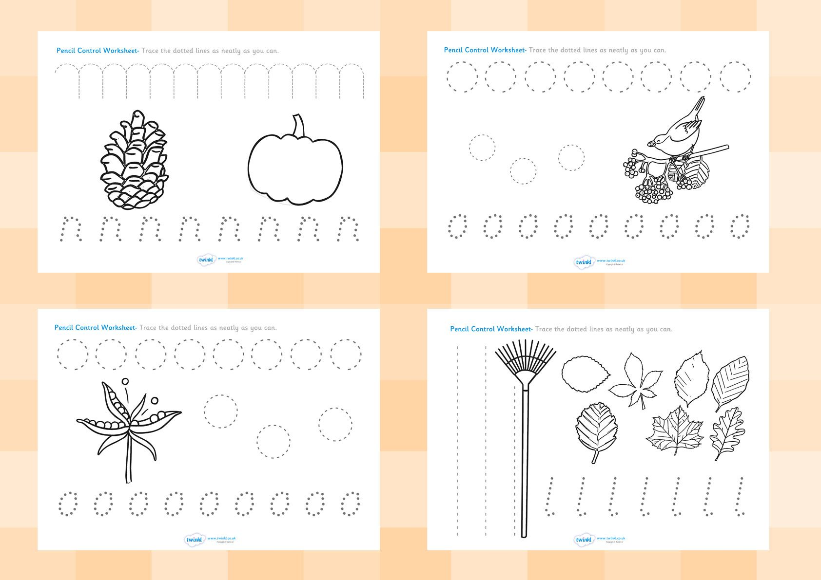 Twinkl Resources Gt Gt Autumn Themed Pencil Control Worksheets Gt Gt Printable Resources For Primary