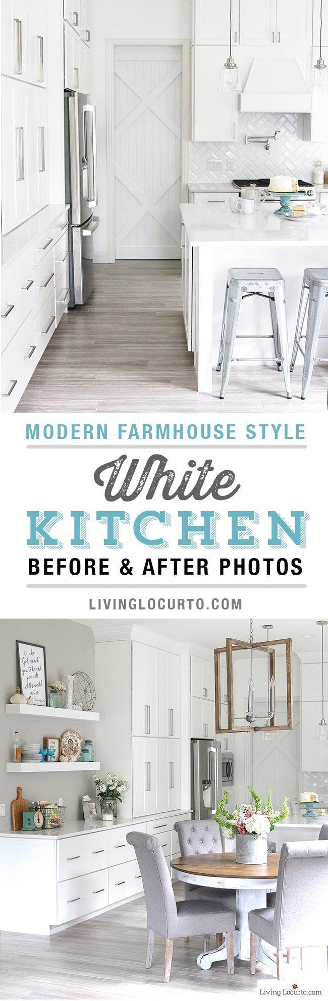 Amazing Before And After Photos Of A Modern Farmhouse Style Kitchen Home Remodel Decorating Insp