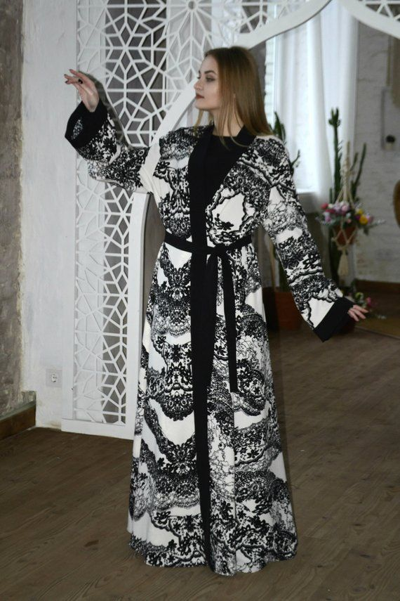 6673b09294 Black and white Lace Abaya, Dubai abaya, Elegant Kimono Dress, Muslim dress,  Plus size abaya, Maxi d
