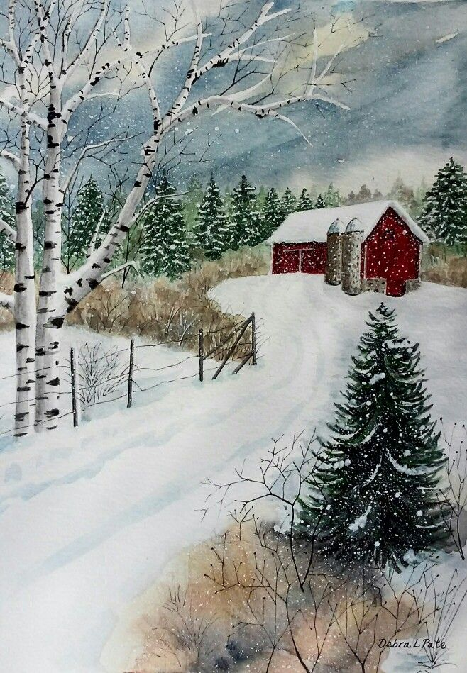 Practicing my painting of snow... I like this one. Inspired by Kathy ...