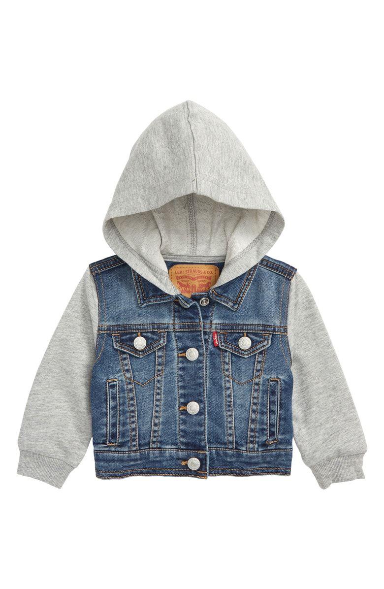 Levi S Indigo Hooded Trucker Jacket Baby Boys Nordstrom Girls Denim Jacket Jackets Trucker Jacket [ 1196 x 780 Pixel ]