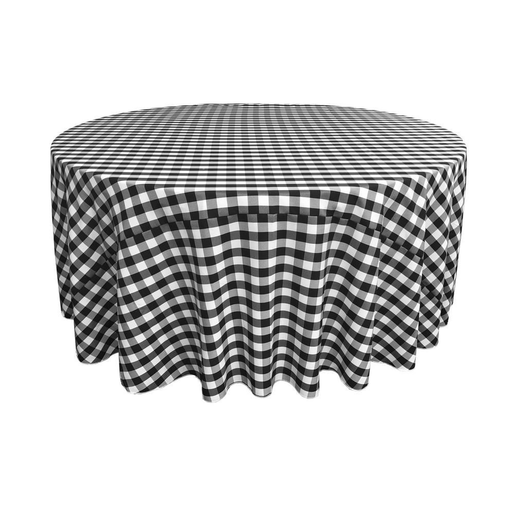 La Linen 120 In White And Black Polyester Gingham Checkered Round