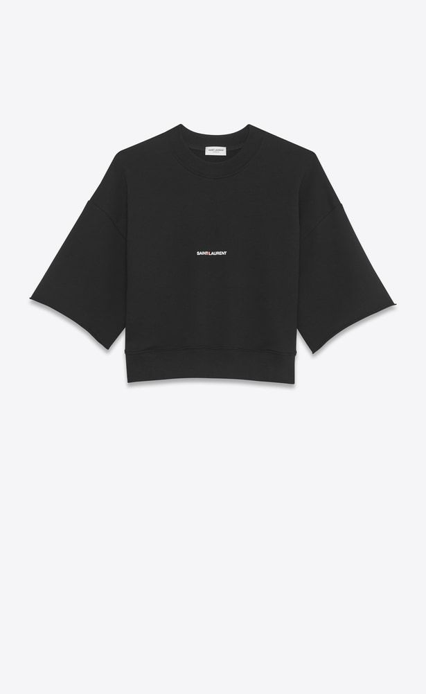 040f3219f64 SAINT LAURENT Sportswear Tops Woman short sleeve saint laurent cropped  sweatshirt in black french terrycloth a_V4