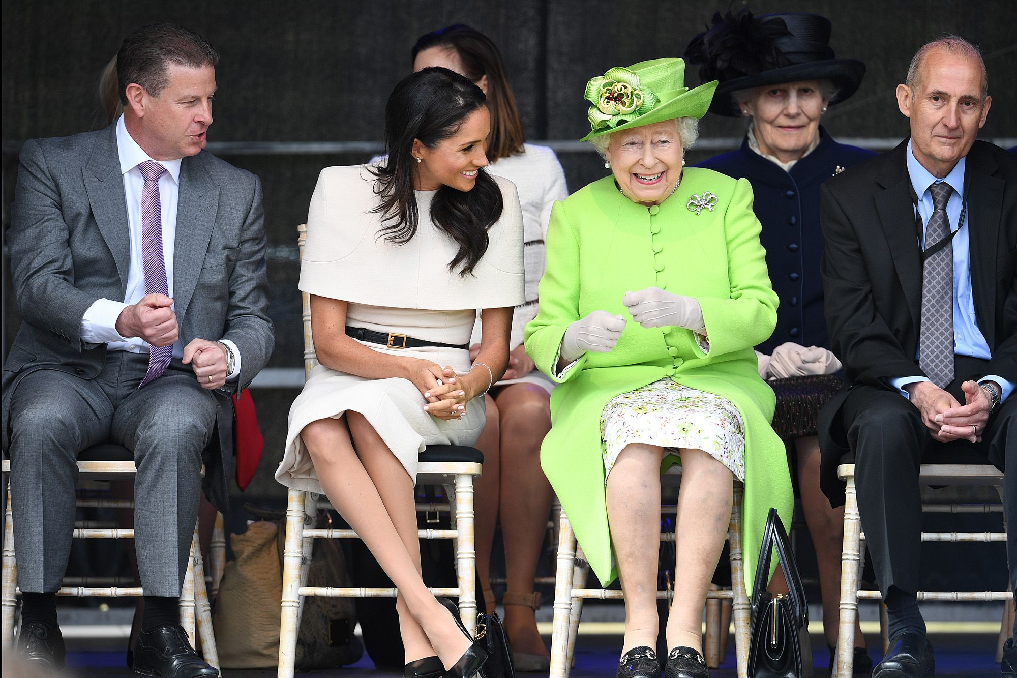 The Duchess And The Queen Meghan Markle And Queen Elizabeth Step Out Together For First Time Meghan Markle Outfits Princess Meghan Prince Harry And Meghan [ 1333 x 2000 Pixel ]