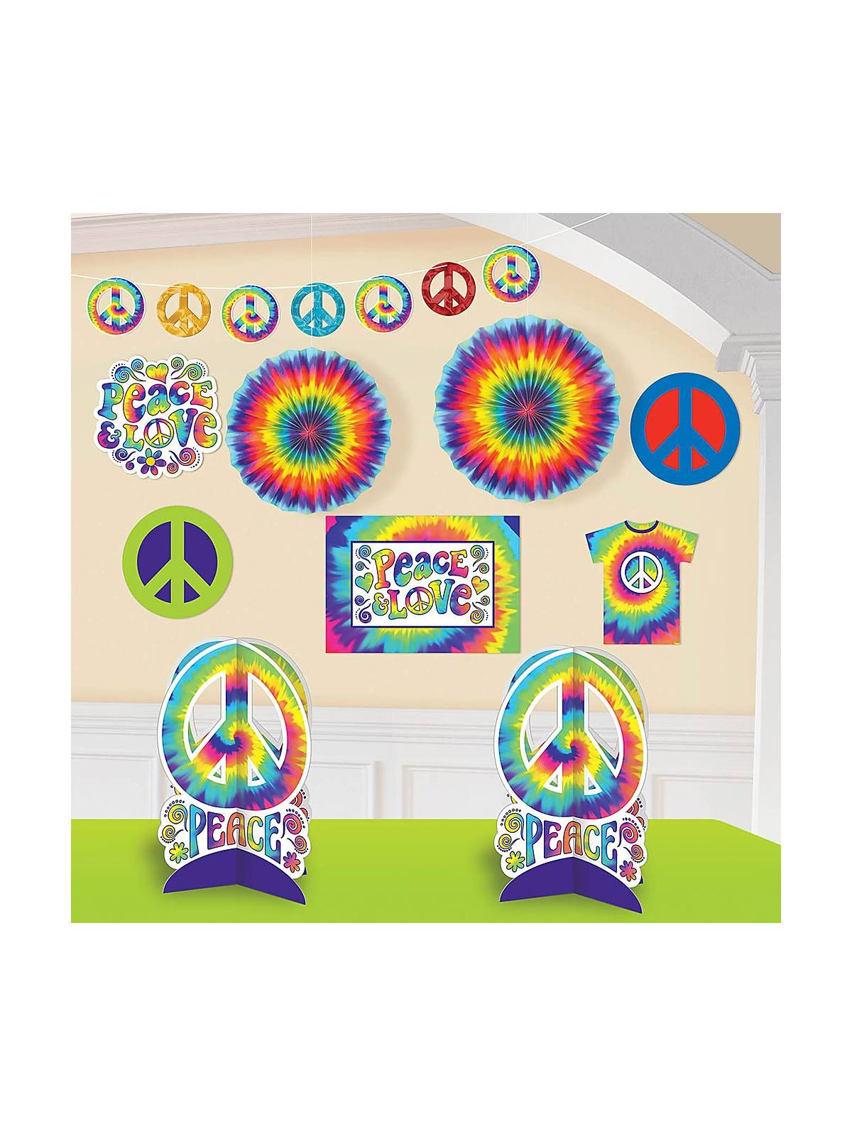 60 39s Groovy Hippie Room Decorating Kit Each Wholesale