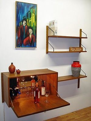 string shelves with bar unit poul cadovius danish modern