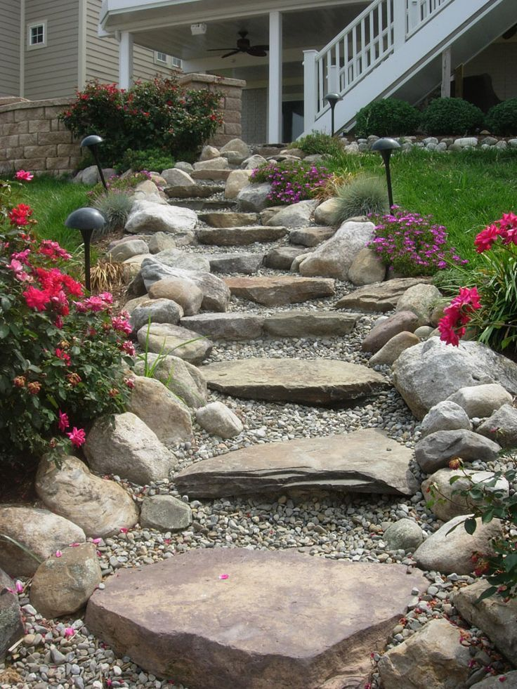 Image result for natural garden path slope landscaping for Stone landscaping ideas