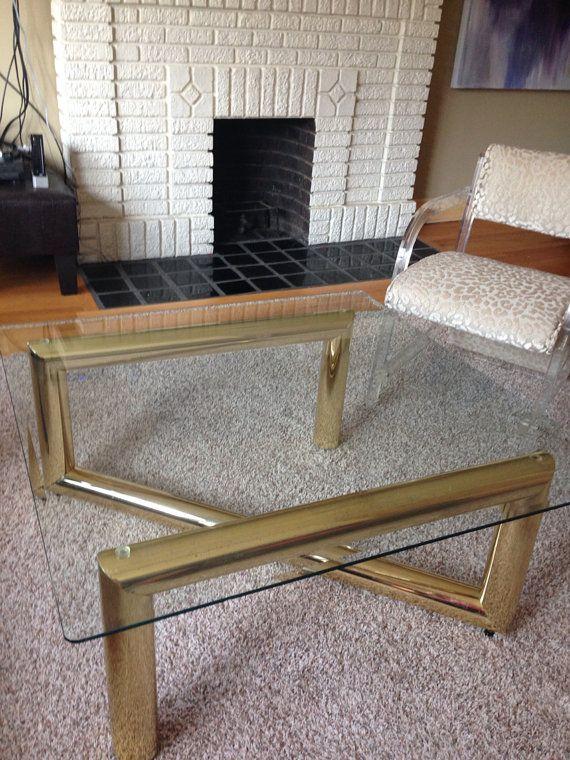 fabulous,modern,vintage, 70's tubular brass and glass coffee table