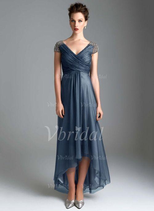 b04c8224a5 Empire V-neck Asymmetrical Ruffle Beading Tulle Zipper Up Cap Straps  Sleeveless No Mother of the Bride Dress