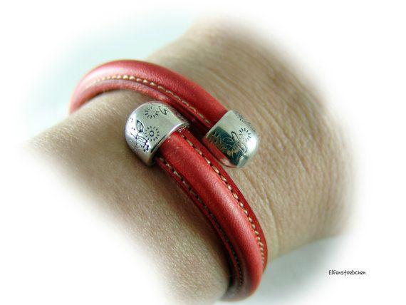 Women's leather bangle bracelet red silver -  engraved flowers - women's bracelet leather  - gift for her wife girlfriend sister