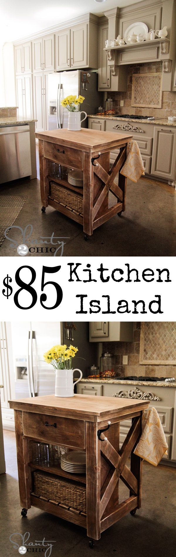 10 Modest Kitchen Area Organization And DIY Storage Ideas 7. Rustic Kitchen  IslandKitchen RedoKitchen IslandsKitchen IdeasPottery Barn ...