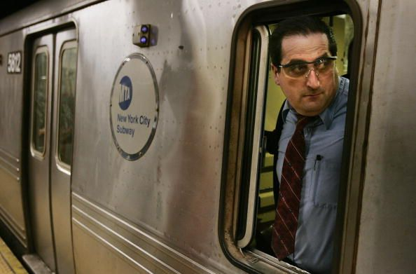A Train Conductor Looks Out Of A New York City Subway Car December Train Conductor New York City New York