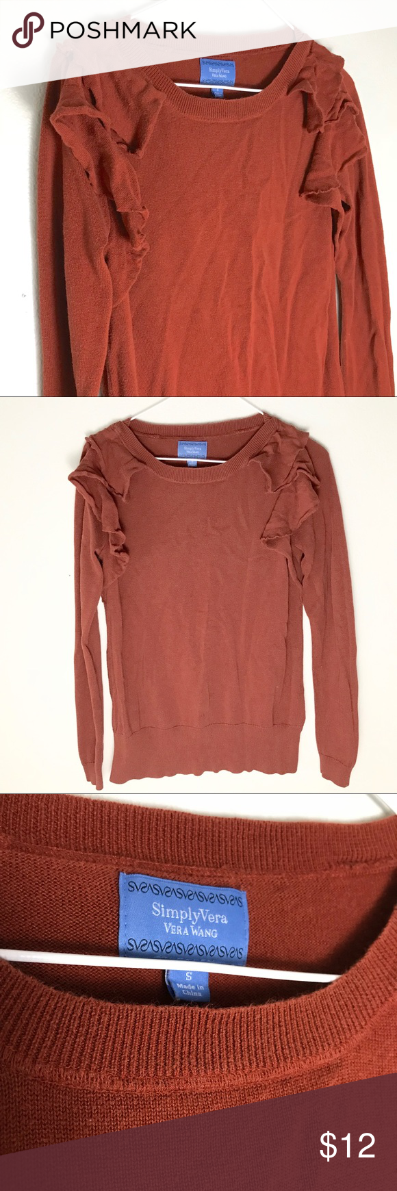 Vera wang burnt orange sweater small | Simply vera, Scoop neck and ...