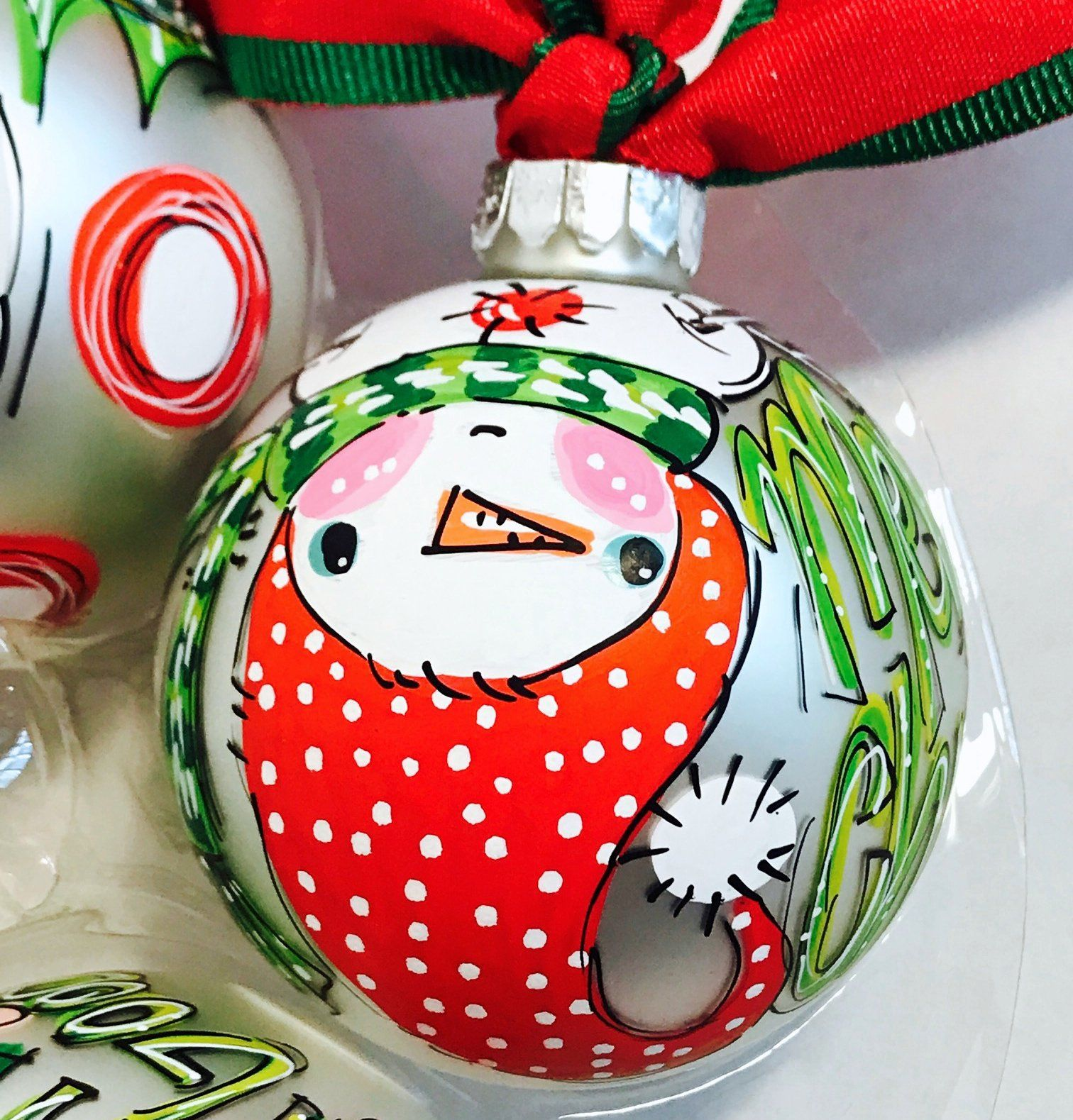 ORNAMENT, PERSONALIZED UPSIDE DOWN SNOWMAN Ornament (With