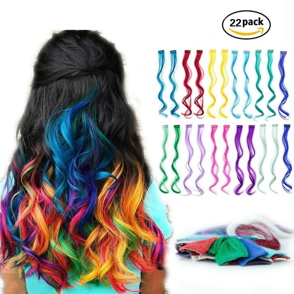 Amesun 22pcs 22inch Straight Colored Clip In On Synthetic Hair Extensions For Girls Party Multiple Colo Rainbow Hair Color Colored Hair Extensions Rainbow Hair