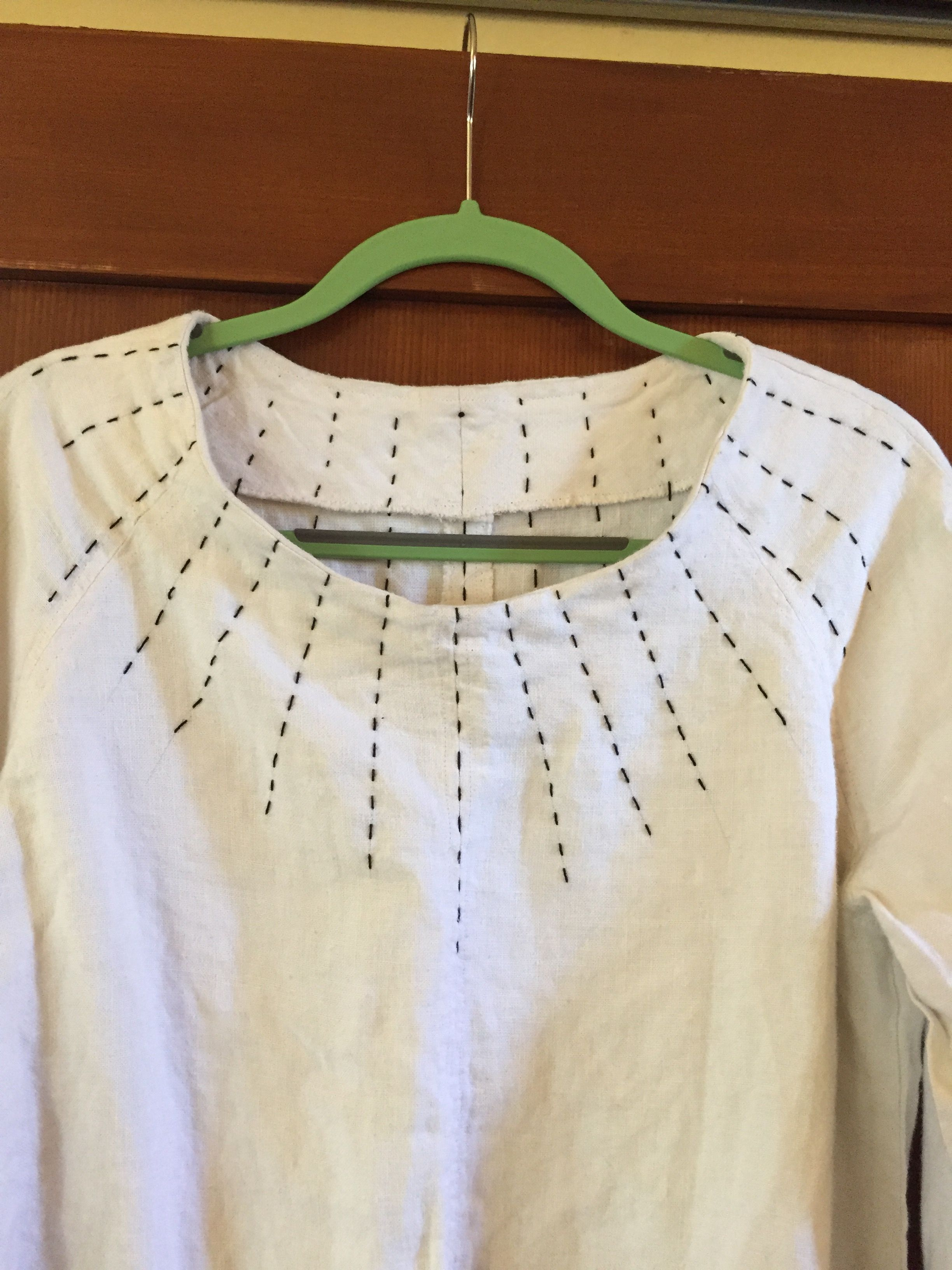 My first merchant u mills top in linen with sun ray sashiko