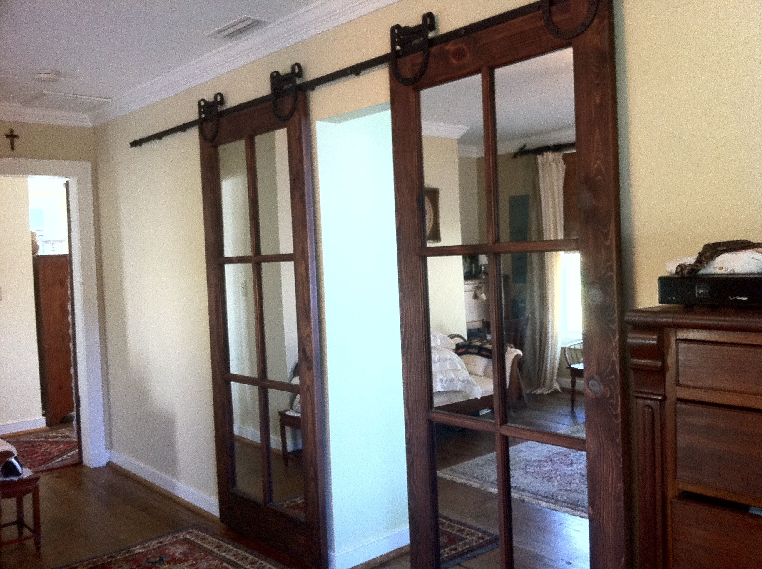 Interior Barn Door With Glass we currently have a standard french door between the kitchen and