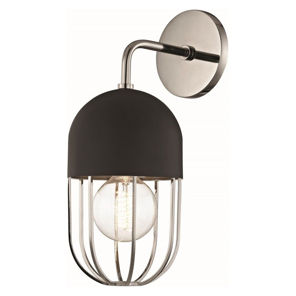 Haley 1 Light Wall Sconce Polished Nickel Black Mitzi By Hudson Valley Copper Wall Sconce Polished Nickel Wall Sconce Wall Sconce Lighting