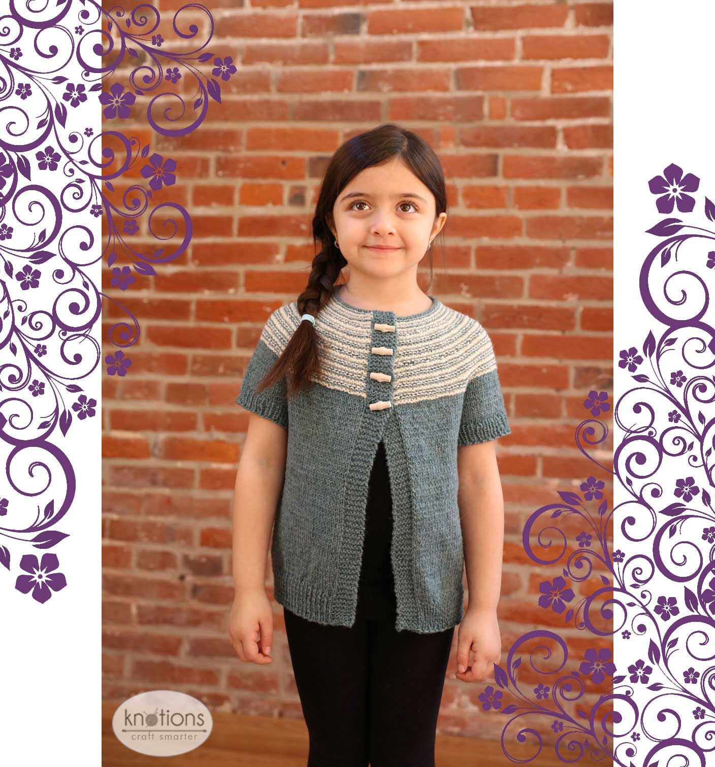 Spring awakening cardigan stockinette garter stitch and free knitting pattern for a top down girls cardigan with short sleeves a bankloansurffo Images