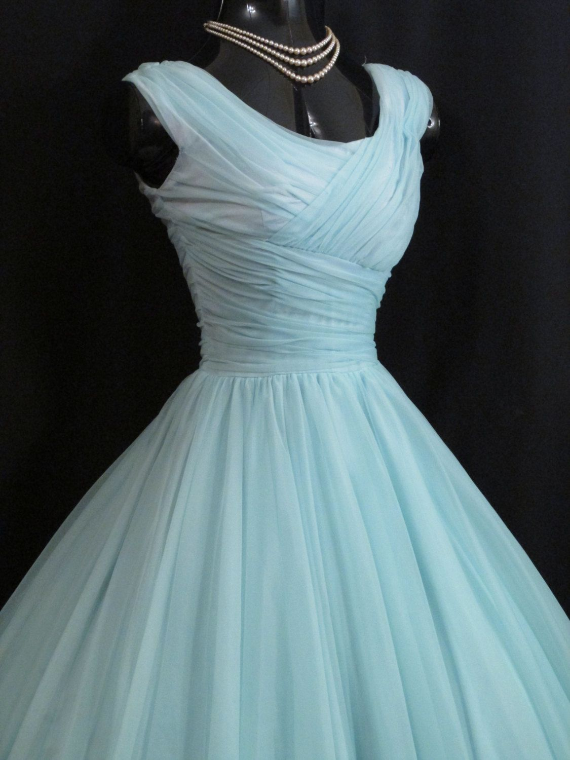 Vintage us s turquoise blue ruched chiffon organza party prom