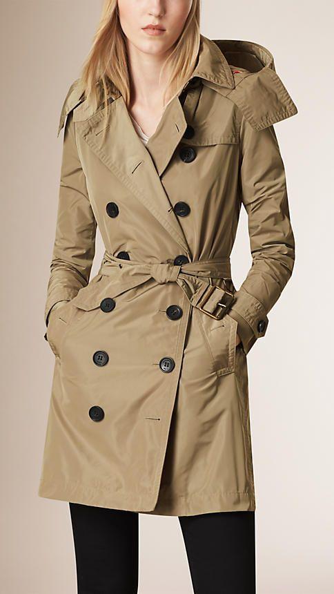 Taffeta Trench Coat with Detachable Hood in Sisal - Women ...