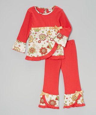 Red Holiday Wrap Tunic & Ruffle Pants - Toddler & Girls
