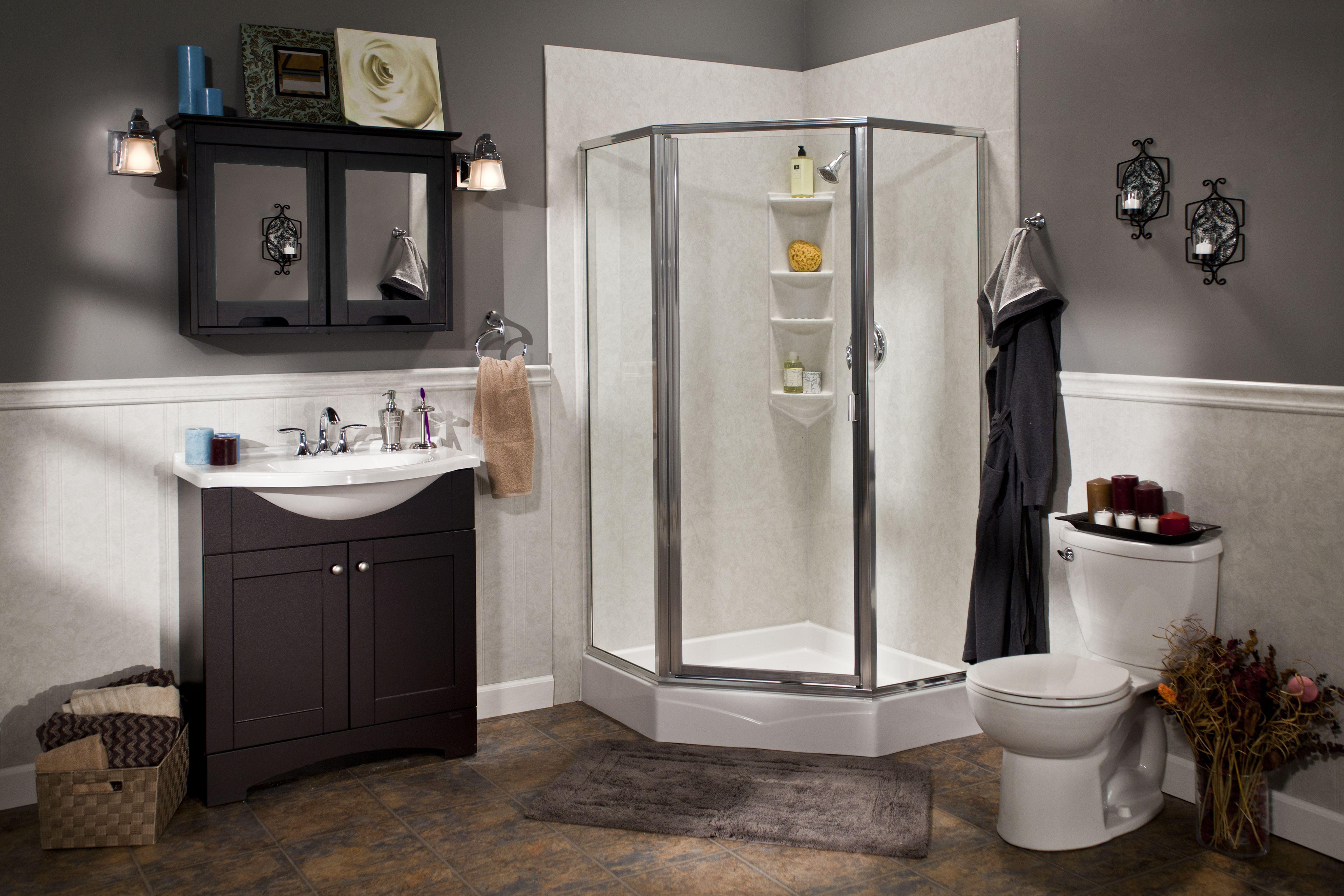 White neo-angle shower base, smooth roman stone wall surround, glass ...