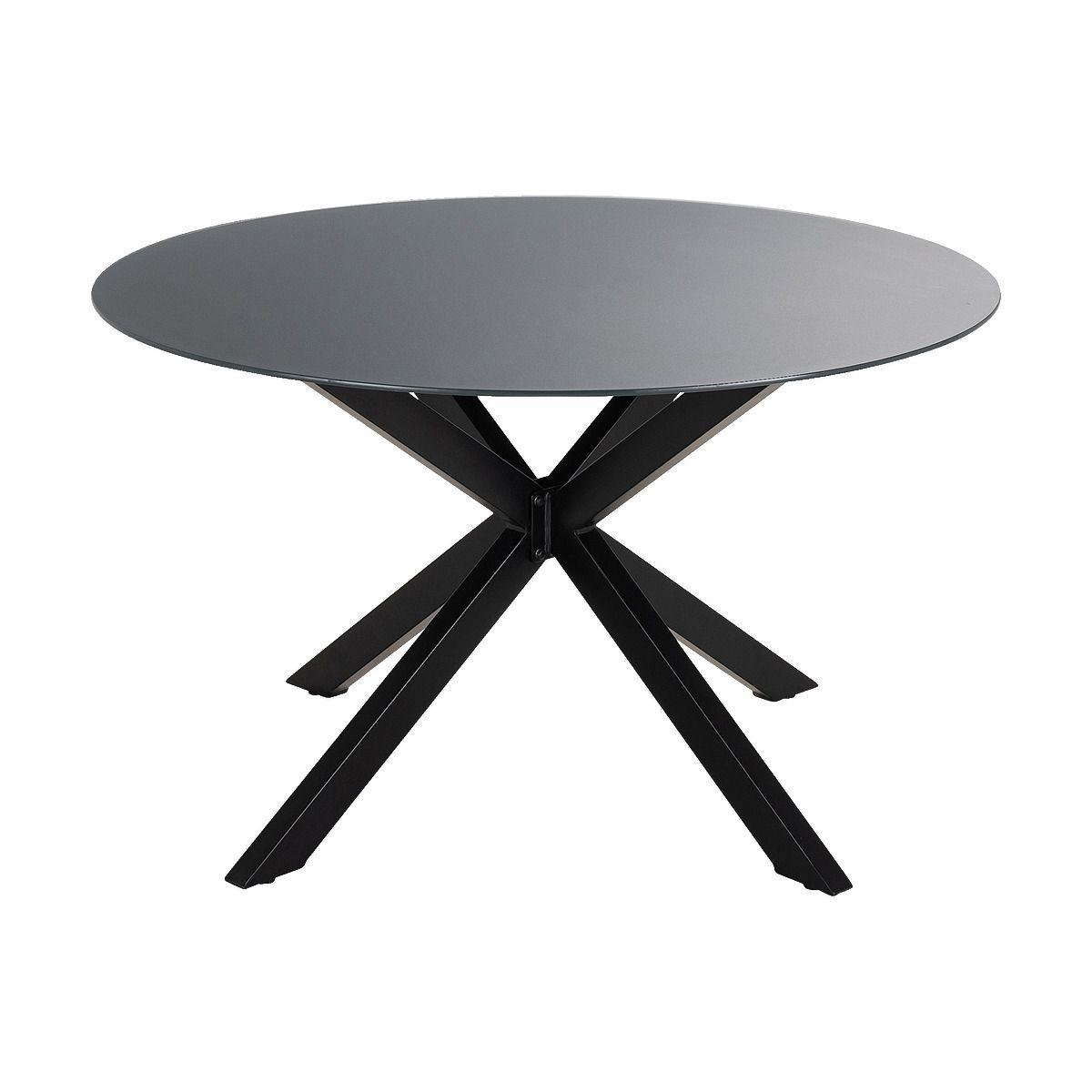 Table De Jardin Ronde En Verre Et Aluminium Noir 4 Places