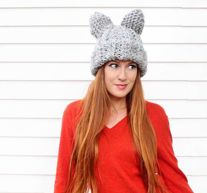 Gina Michele: Cat Ear Hat [knitting pattern] | DIY | Pinterest | Ear ...