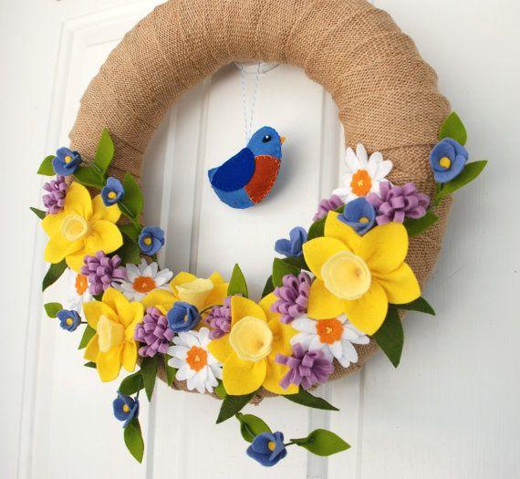 Photo of Items similar to Spring Burlap Wreath with Felt Bluebird, Daffodil Felt Flower Wreath, Burlap Easter Wreath on Etsy