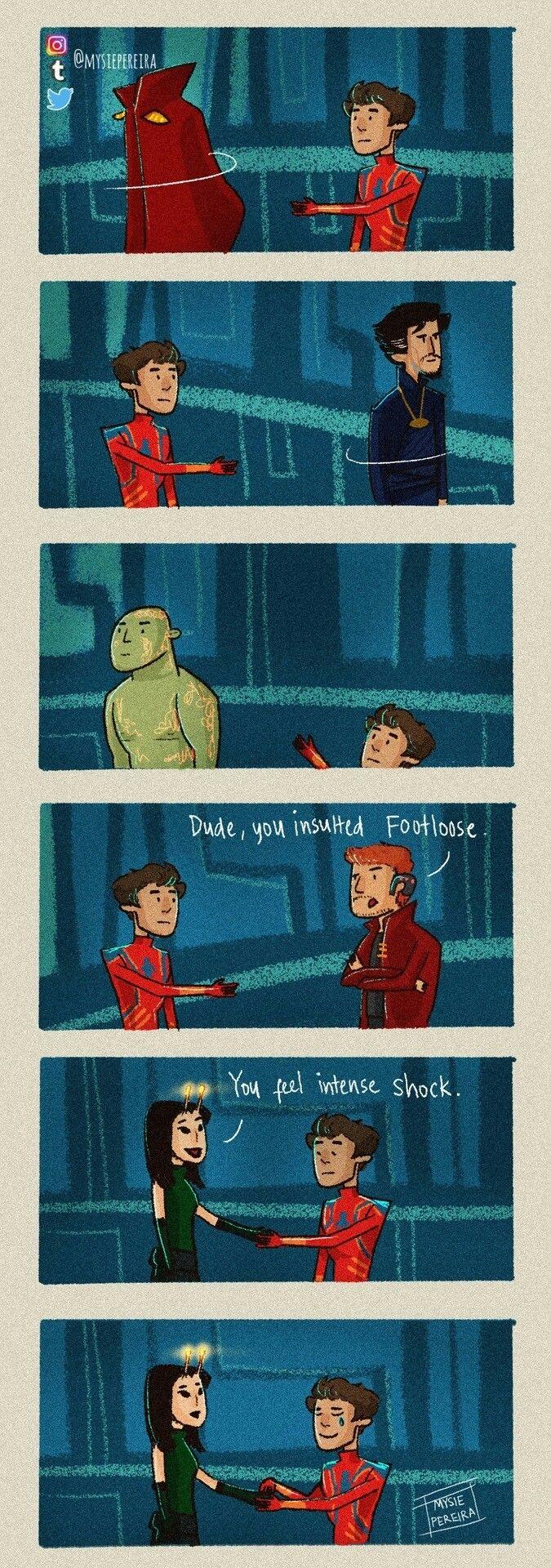 Peter Finally Gets That Handshake Avengers Infinity War Spiderman Mantis Drax Dr Strange Starlord Marvel Superheroes Marvel Jokes Marvel Funny