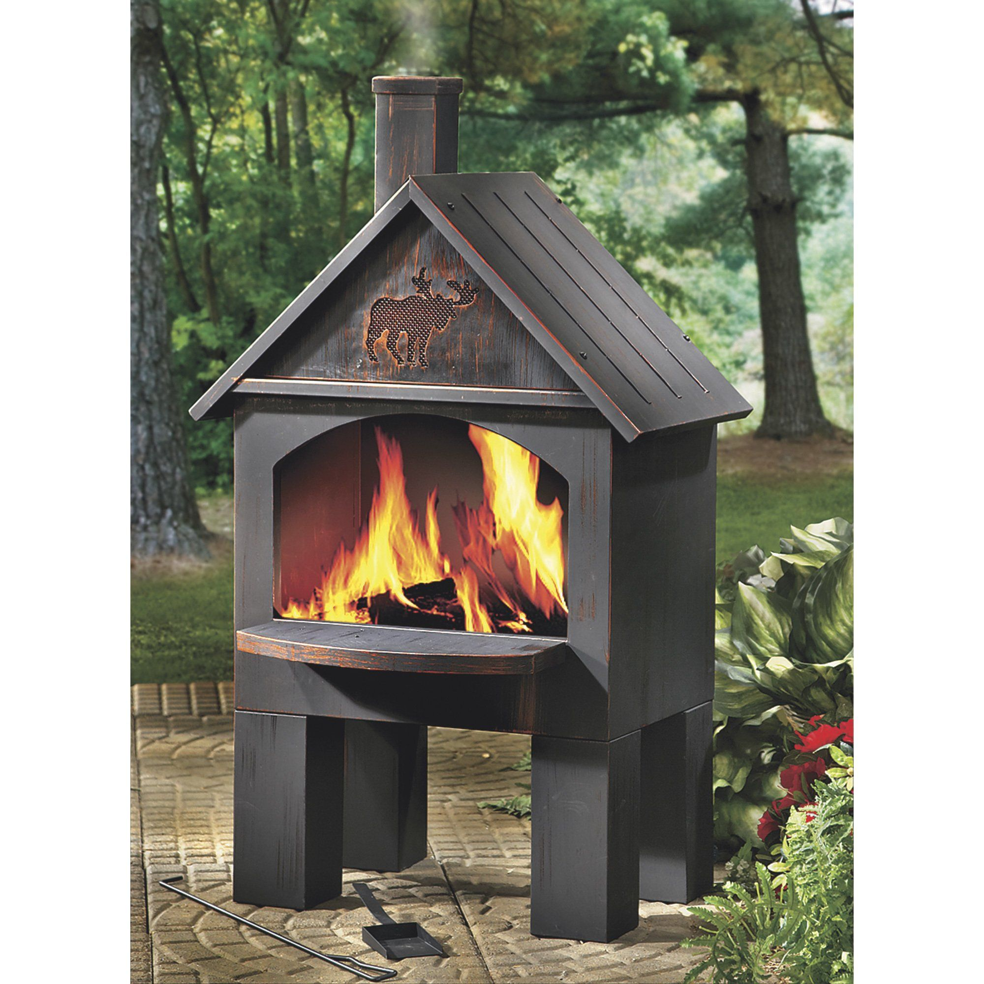 Cabin Style Outdoor Cooking Steel Chiminea 20in W X 25in D X 43in H In 2020 Fire Pit Patio Fire Pit Backyard Deck Fire Pit