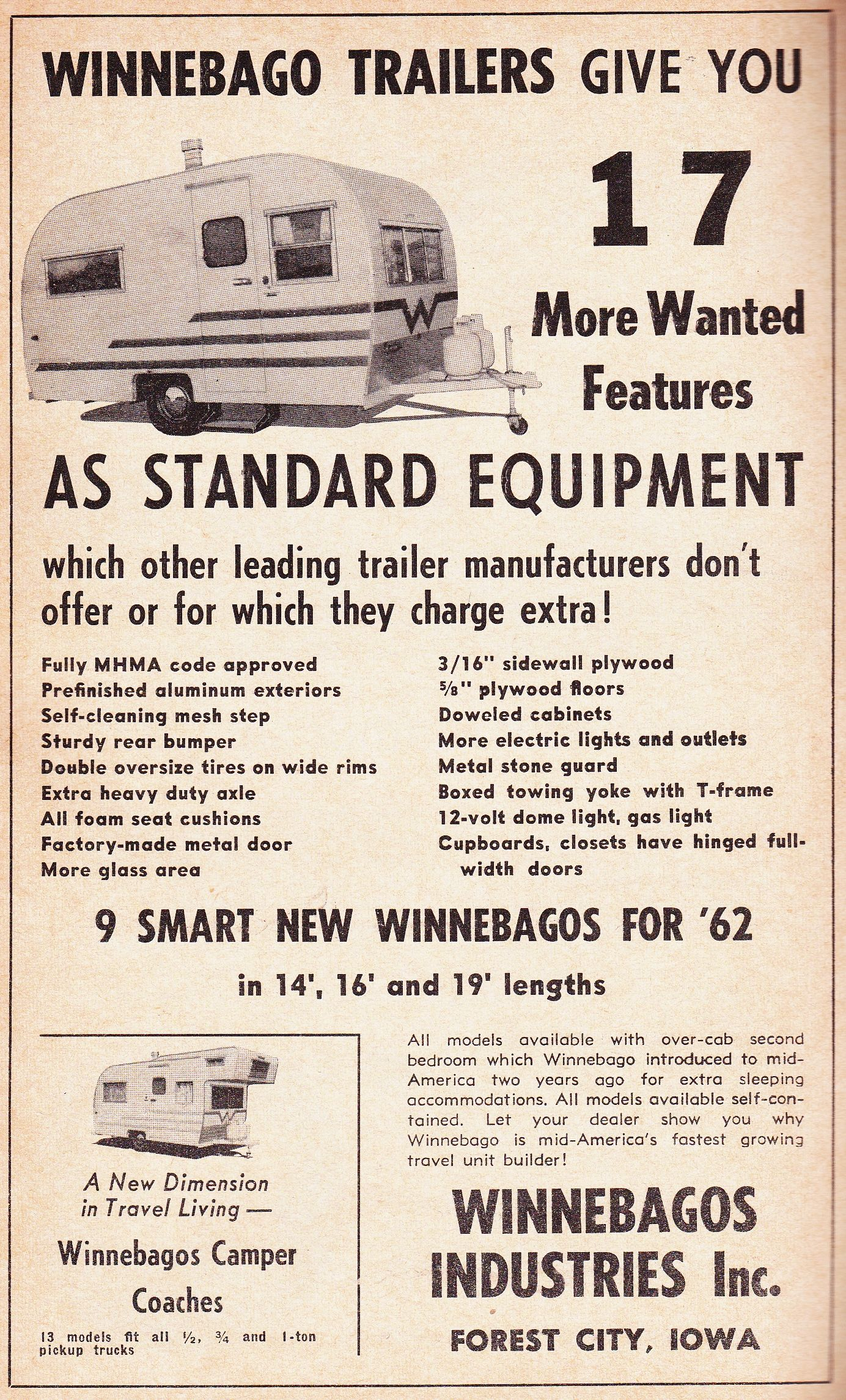 A Vintage Winnebago Ad From My 1962 Travel Trailer Park Guide Www