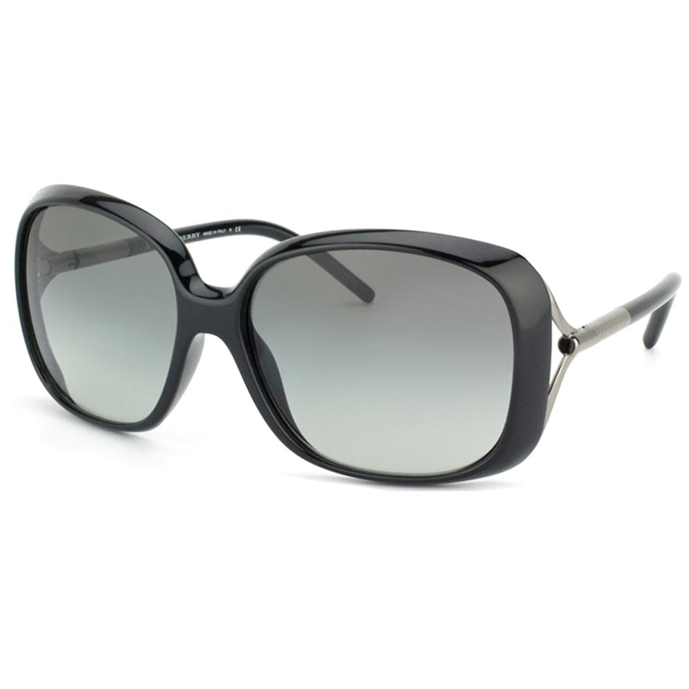 6ca2e9dcab9a These fabulous women's sunglasses from Burberry bring retro-modern style to  your look. The sunglasses feature bold, shiny black frames and UV-protected  grey ...