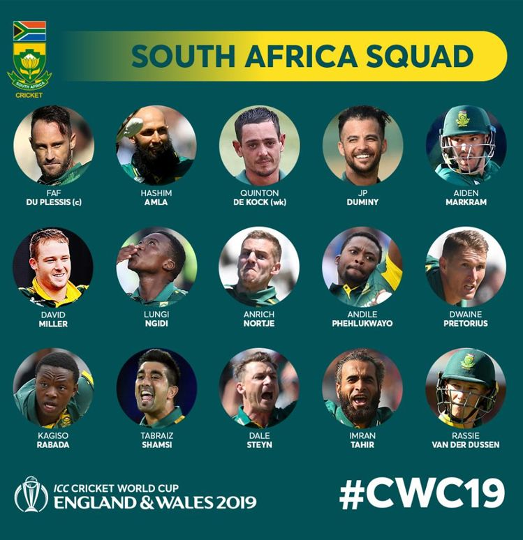 South Africa Cwc 19 Squad World Cup Cricket World Cup Cricket