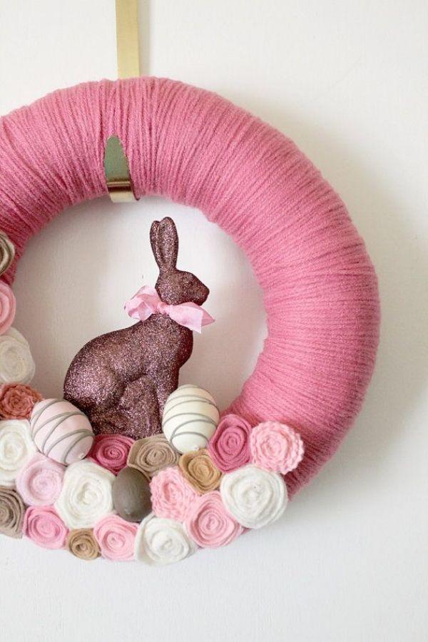 osterhase deko figur-osterkranz pink-verzierung ideen original